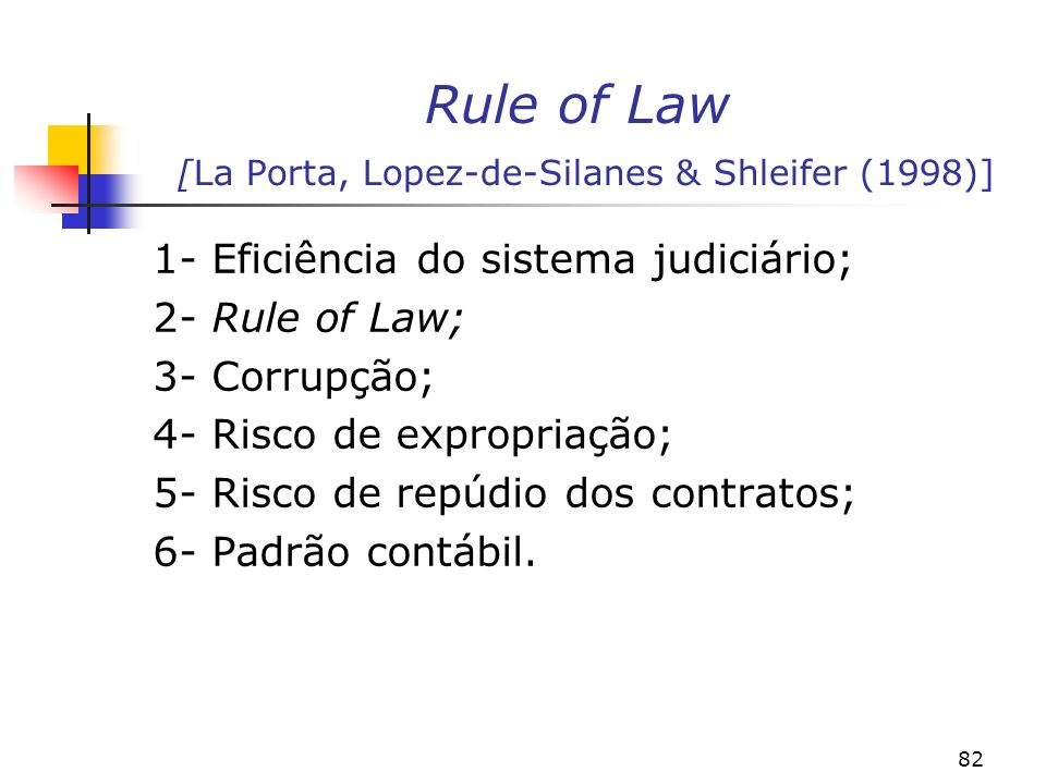 Rule of Law [La Porta, Lopez-de-Silanes & Shleifer (1998)]